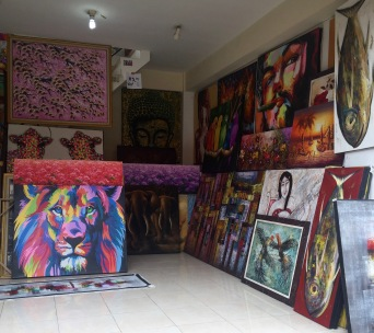 Bali paintings that are sold at the street markets