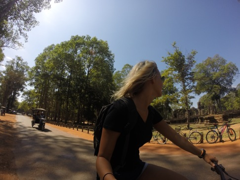 Riding our bikes around the temple grounds