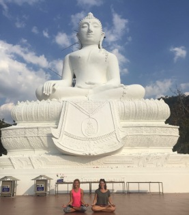 Hannah and I in front of the white buddha!