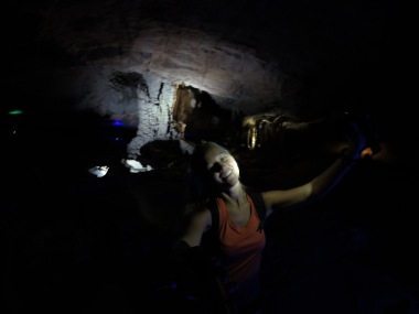 Thankfully we had our headlamps to search the cave for stalagmites!