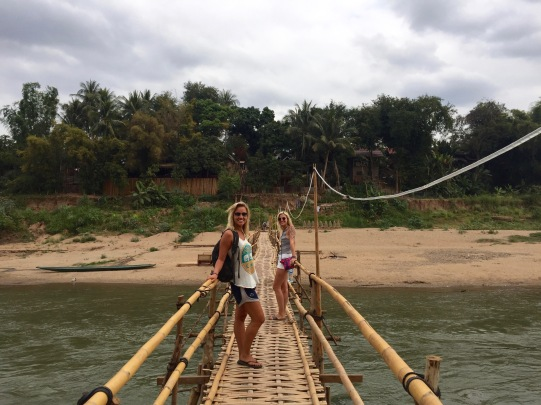 The famous Bamboo Bridge crossing over to the villages of Luang Prabang