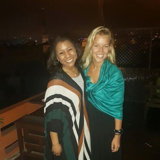 Rachel and I finally reunite, in the distance you can see Qutub Minar!