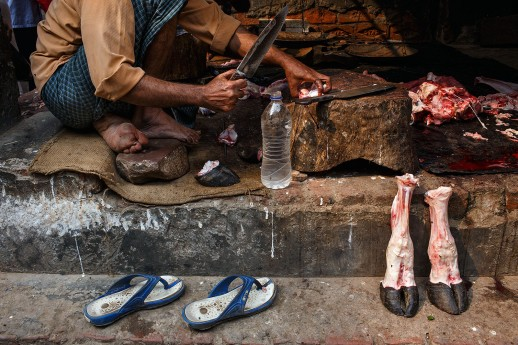 You would pass these goat feet along the marketplace with blood dripping out to the streets.
