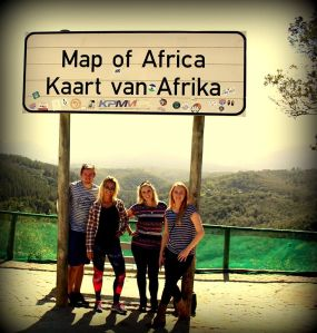 Map of Africa behind us. A formation of tree's that look like the continent of Africa!