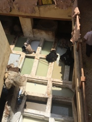Tanneries in Fes - These guys are washing the hides!