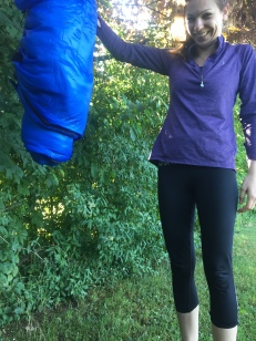 This is what happens when you don't zip up the rain cover....sleeping bags are soaking wet!