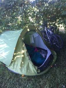 Our campsite for the evening in someones back yard!